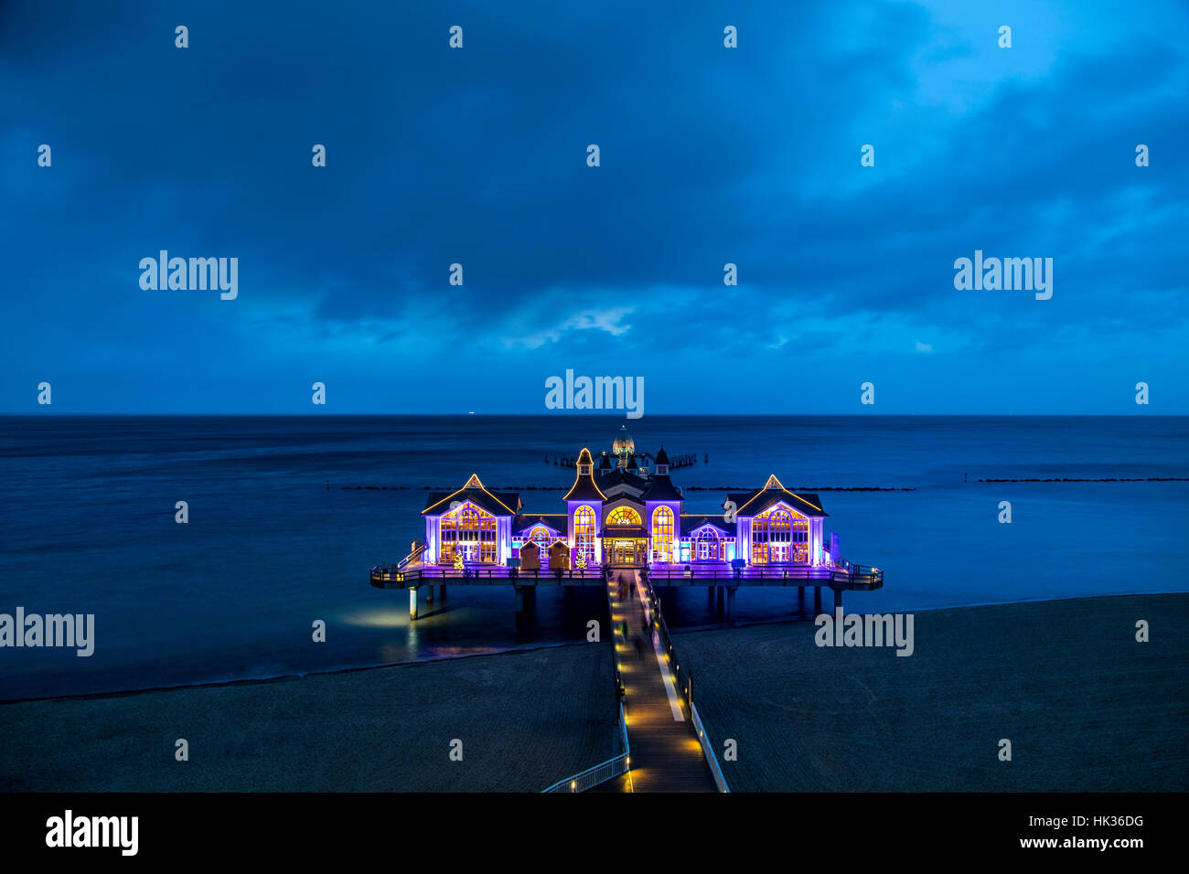 The pier from the , seaside resort, Sellin on the island of RŸgen, Germany, Baltic sea, in the evening, illuminated, - Stock Image