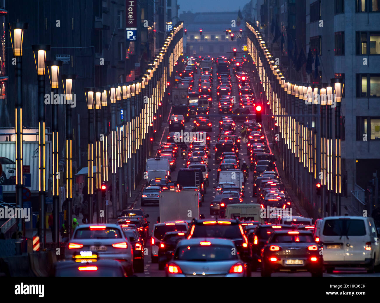 Evening intercity traffic in Brussels, Rue de la Loi, leads from the European quarter to the city center, traffic - Stock Image