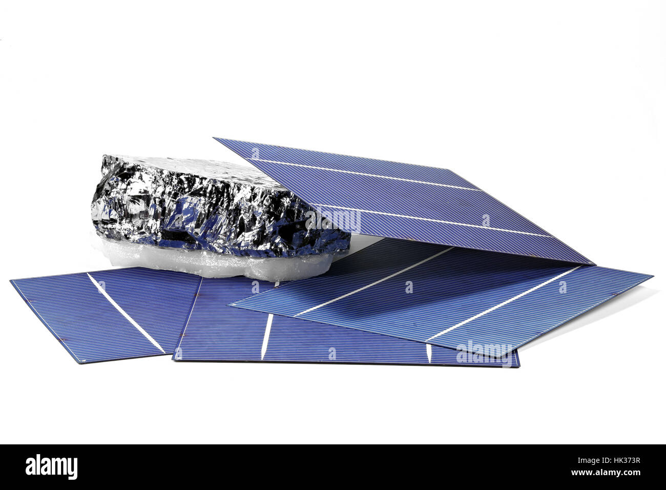 solar cells with polycrystalline silicon isolated on white background - Stock Image