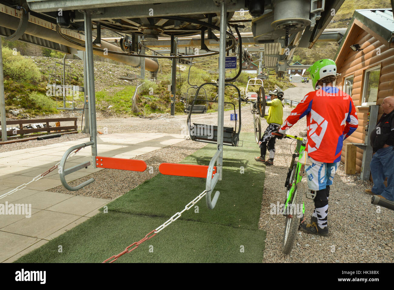 Glencoe lifts - used by mountain bikers in summer - Stock Image