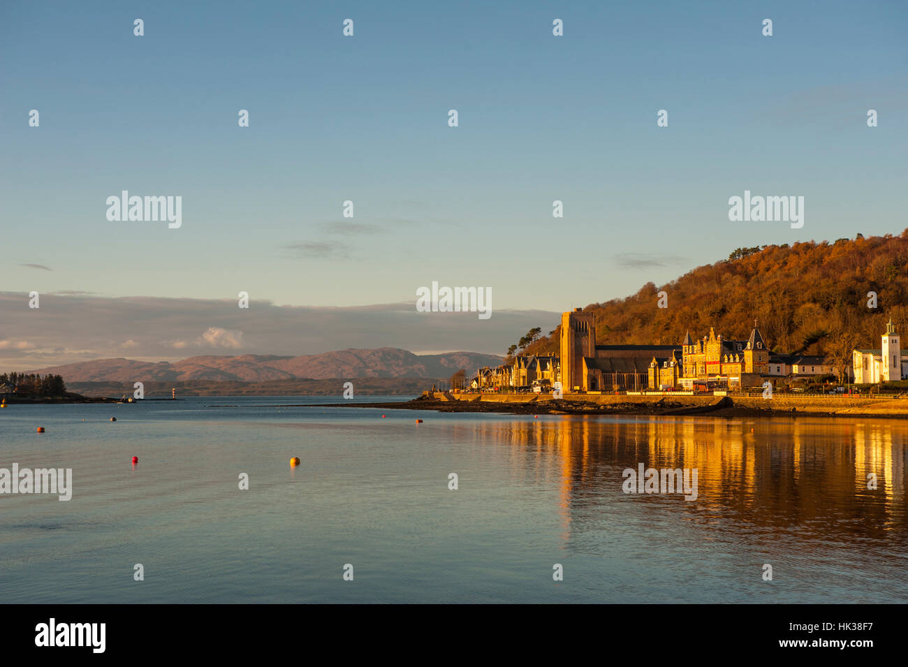 Oban from the pier looking towards Lismore. - Stock Image