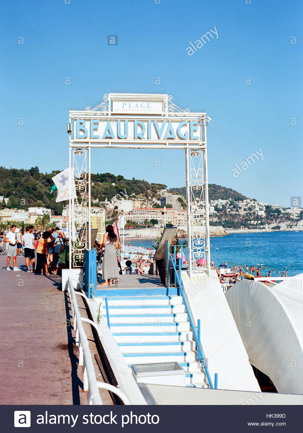 Hotel Beau rivage Nice, Beach sign on the on the promenade des Anglais. Image was taken during summer time with - Stock Image