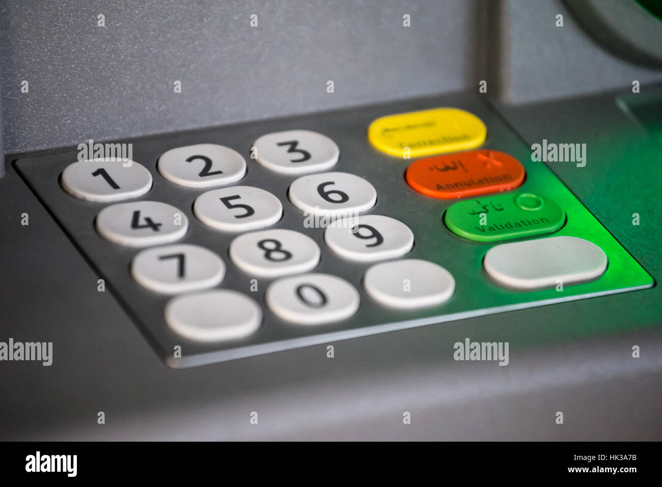 Close-up ATM Keypad in Morocco, guichet bancaire maroc - Stock Image