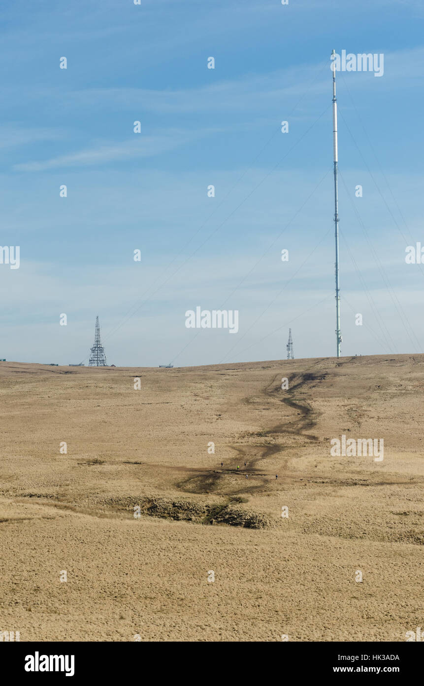 A view of Winter Hill, Chorley, Lancashire and its tv aerial array - Stock Image