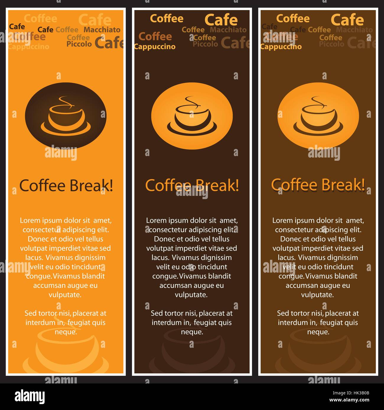 Set Of 3 Coffee Shop Banner Or Menu Template Designs Stock Vector Image Art Alamy
