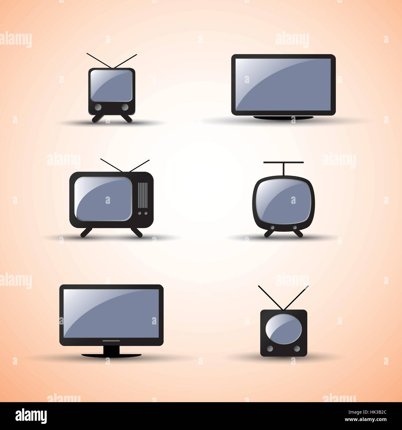 Web, Design Elements, Black and White Icons of Modern and Vintage Electronic Devices - Stock Image