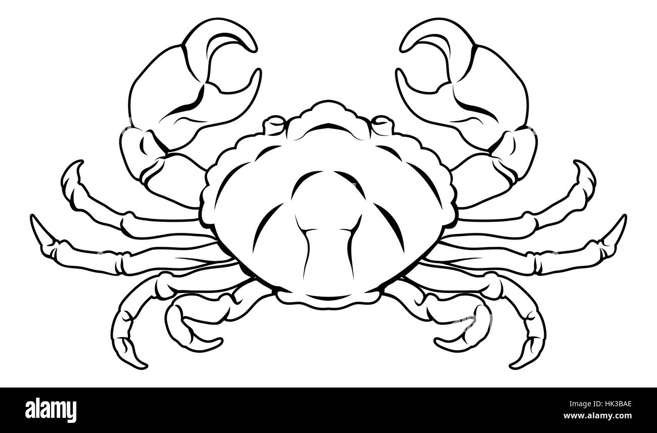 An illustration of a stylised black crab perhaps a crab tattoo - Stock Image