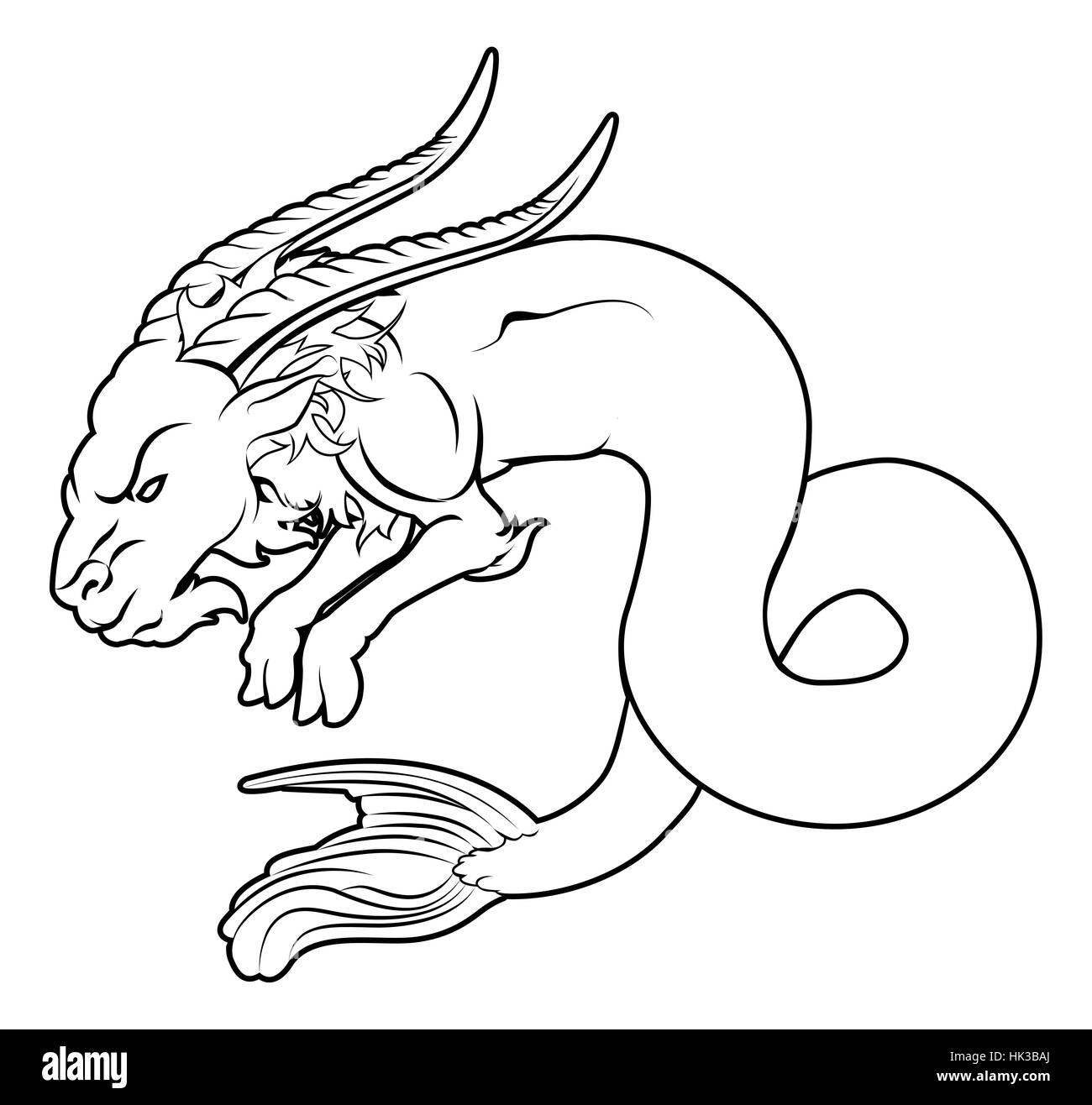 An illustration of a stylised black sea goat perhaps a sea goat tattoo - Stock Image