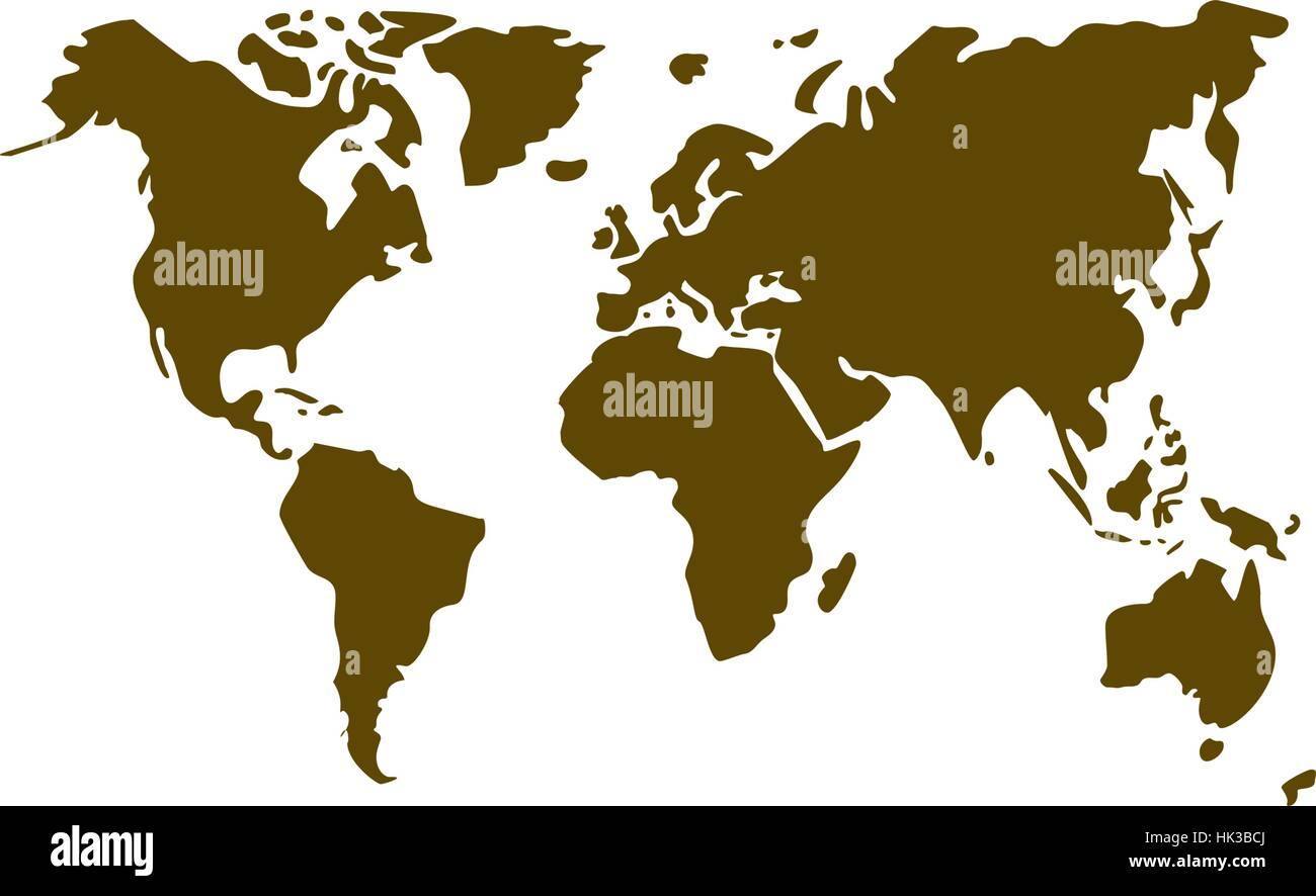 Flat Paper Cut Style Icon Of World Map Vector Illustration Stock