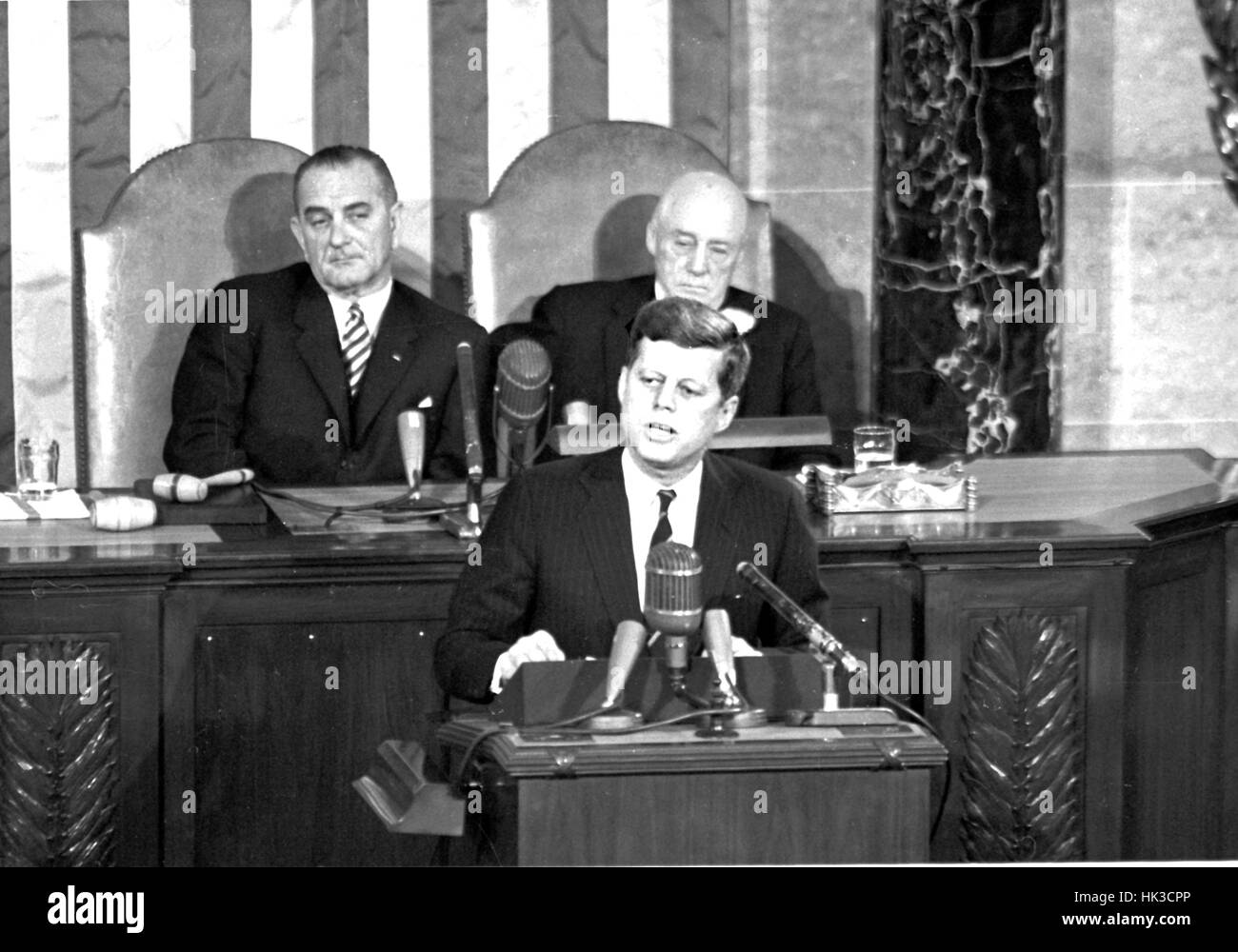 """United States President John F. Kennedy outlined his vision for manned exploration of space to a Joint Session of the United States Congress, in Washington, DC on May 25, 1961 when he declared, """"...I believe this nation should commit itself to achieving t Stock Photo"""