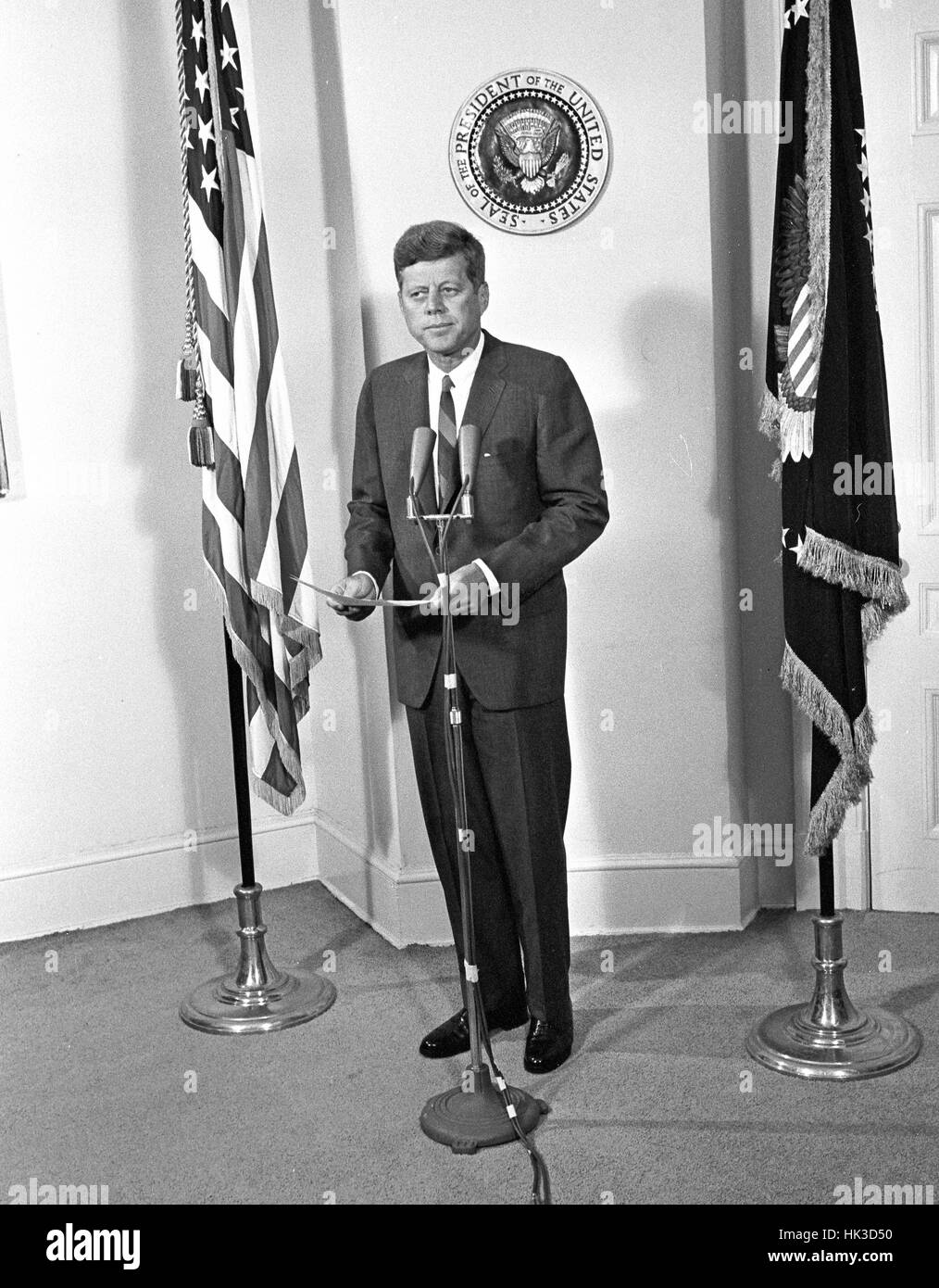 United States President John F. Kennedy announces the appointment of W. Willard Wirtz as US Secretary of Labor at - Stock Image
