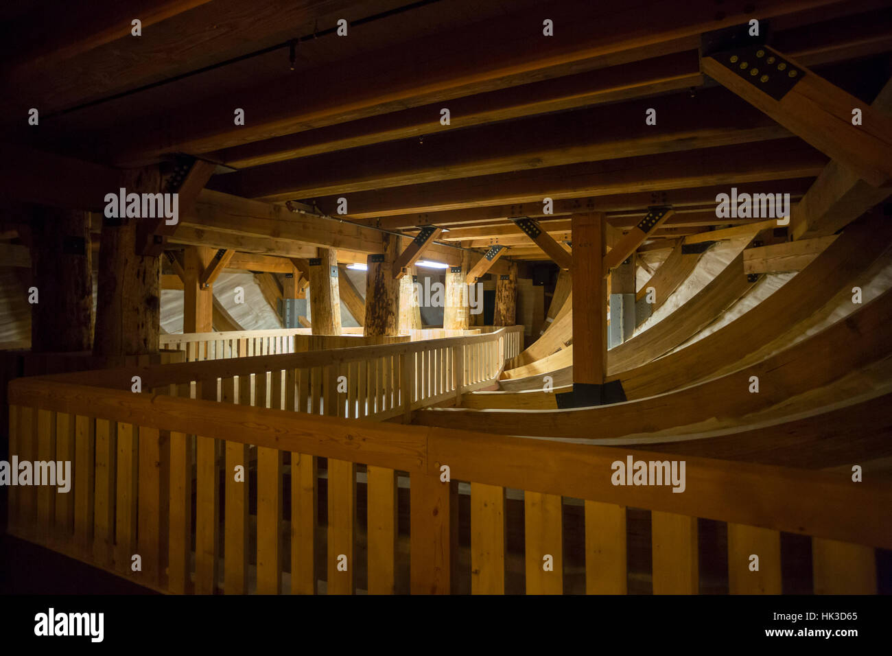 Williamstown, Kentucky - Interior timber framing of the ark at the Ark Encounter, built by a fundamentalist Christian - Stock Image