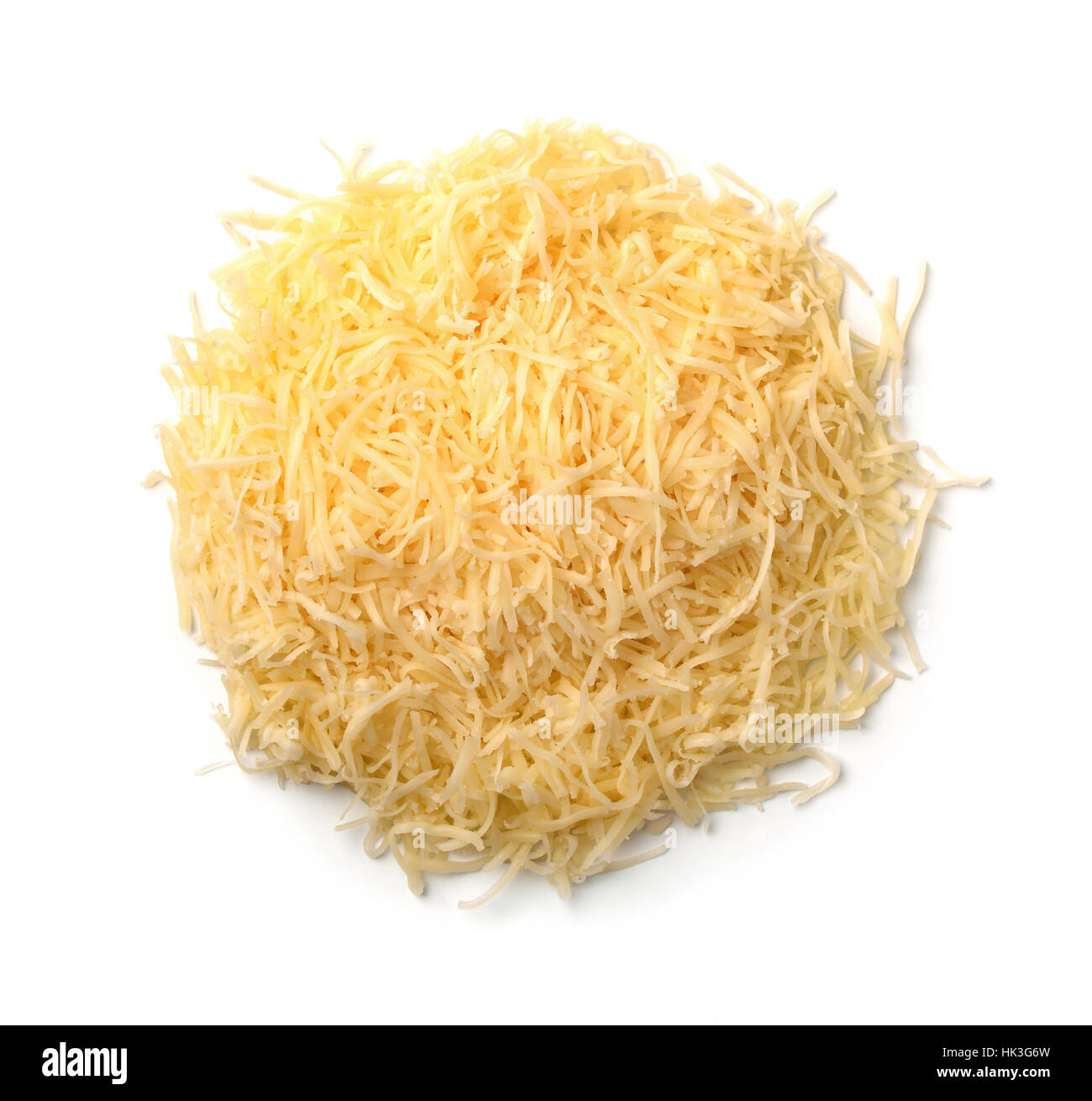 Top view of grated cheese isolated on a white - Stock Image