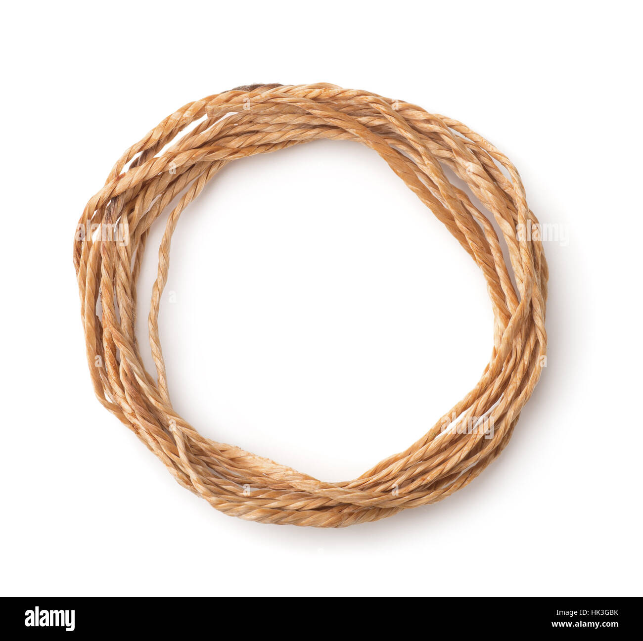 Top view of twine skein isolated on white - Stock Image