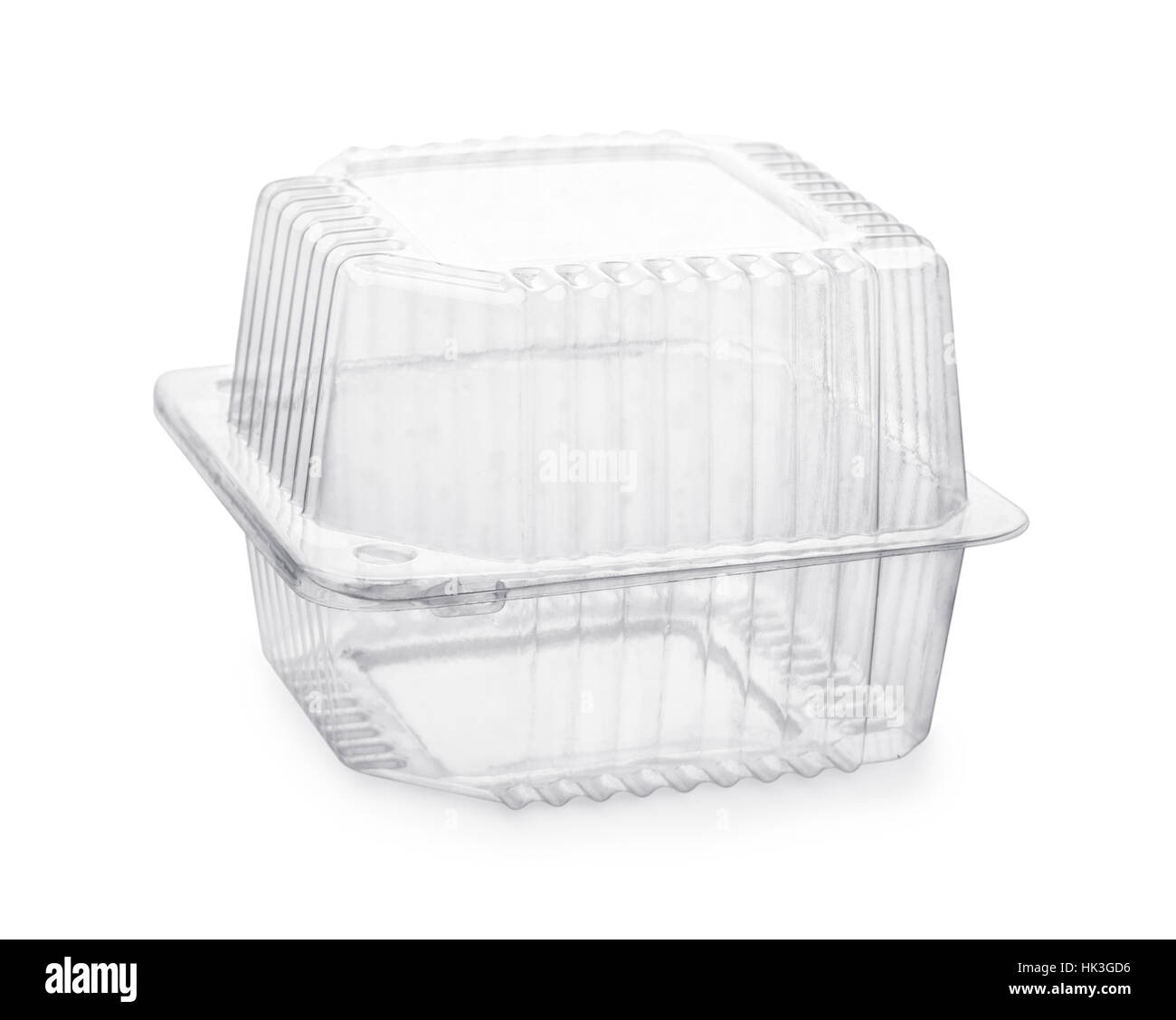 Closed transparent plastic food packaging box isolated on white - Stock Image