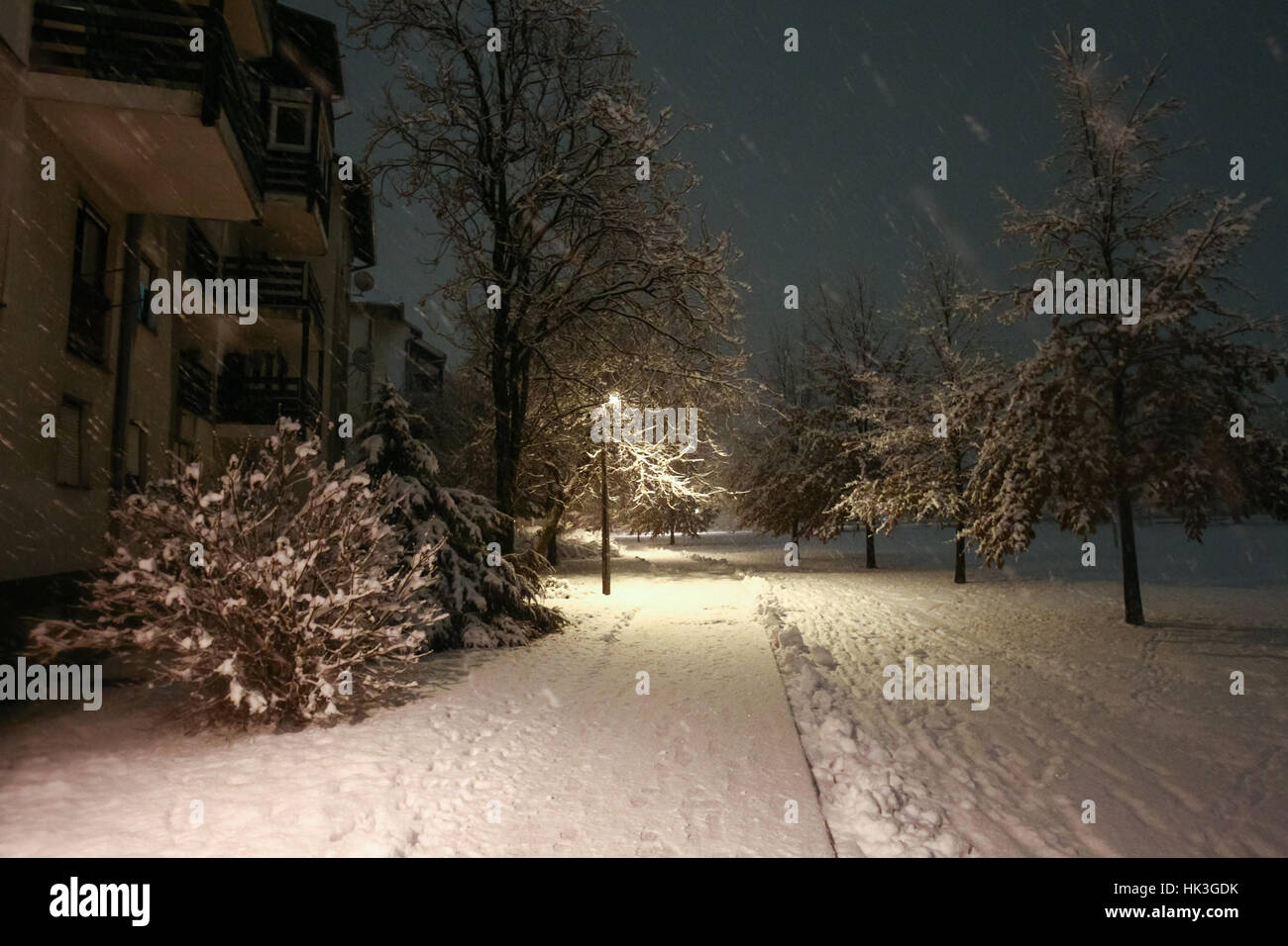 A street covered in snow during snowfall at night. - Stock Image