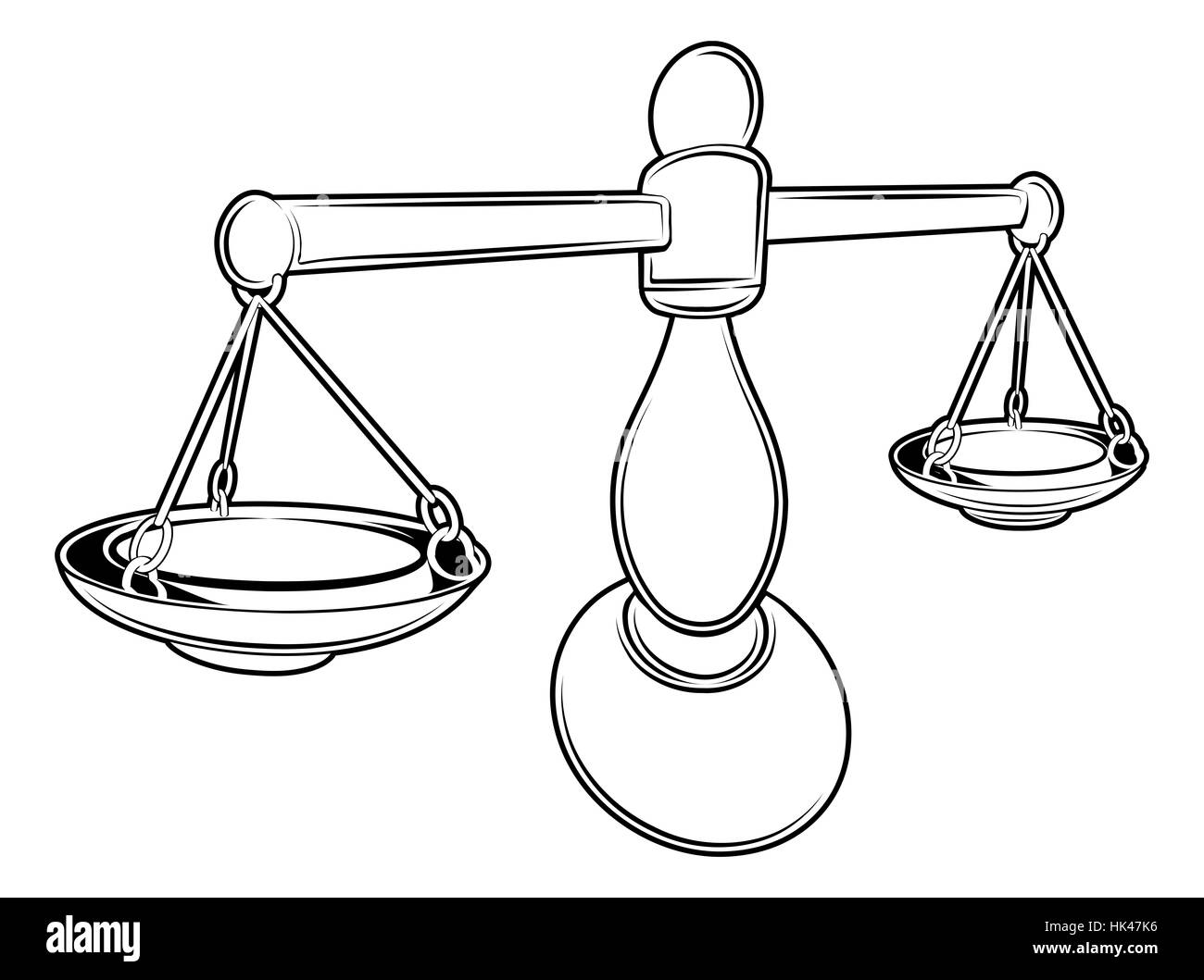 An illustration of a stylised black balance scales perhaps a scales tattoo - Stock Image