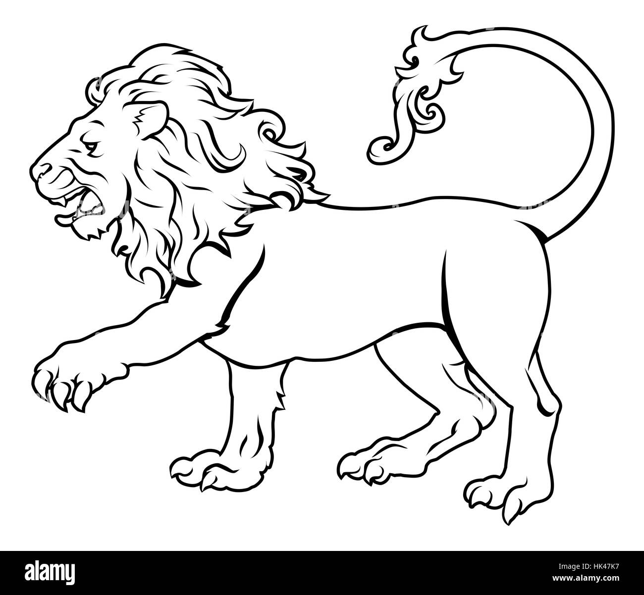 An illustration of a stylised black lion perhaps a lion tattoo - Stock Image