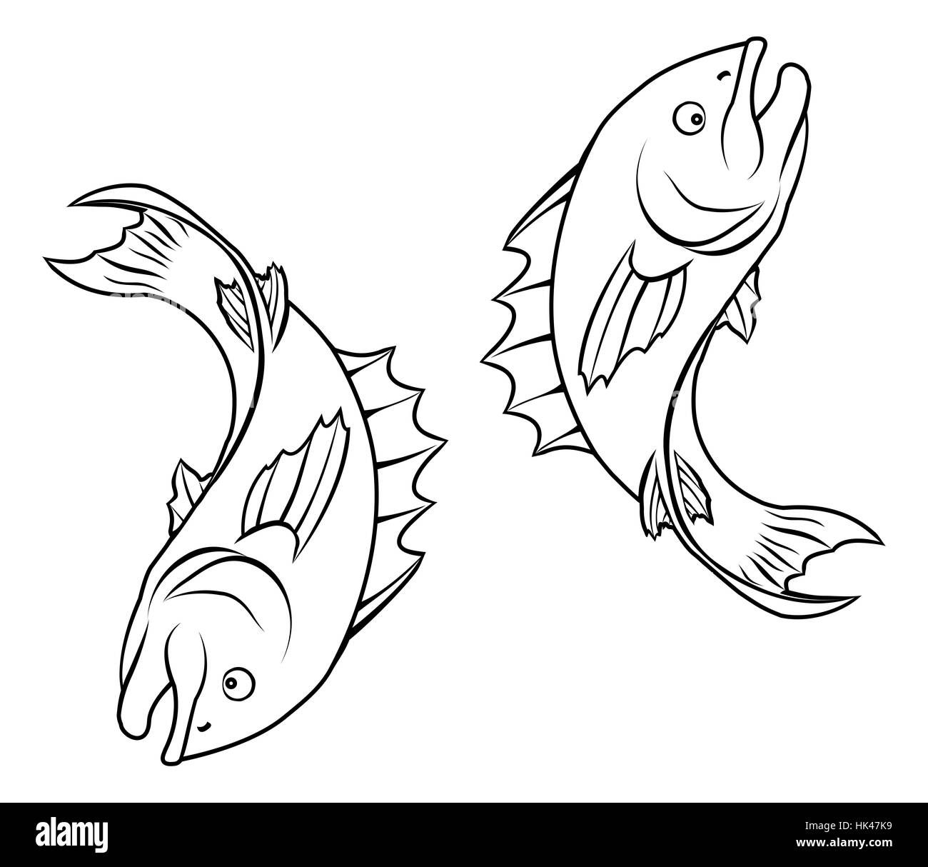 An illustration of stylised fish forming a circle perhaps a fish tattoo - Stock Image