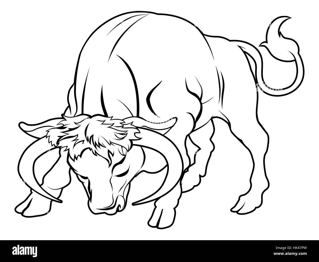 An illustration of a stylised black bull perhaps a bull tattoo - Stock Image