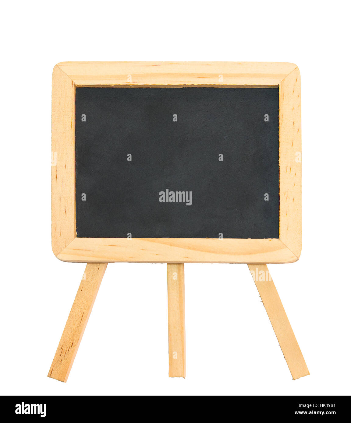 Black chalk board with clean wooden frame and tripod stand isolated ...