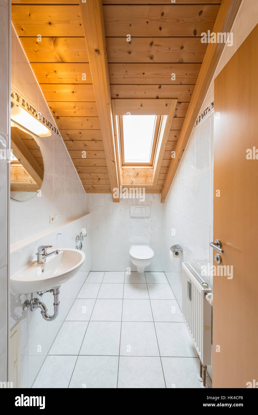 Wood Tile Attic Bathroom White Stock Photos & Wood Tile Attic ...