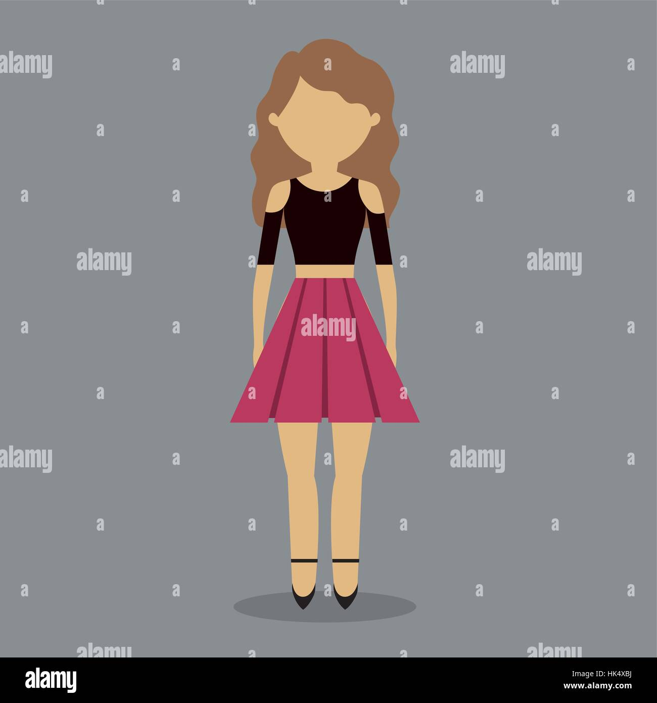 0c87d0b3770235 faceless young fashionable woman wearing crop top with skirt icon image vector  illustration design
