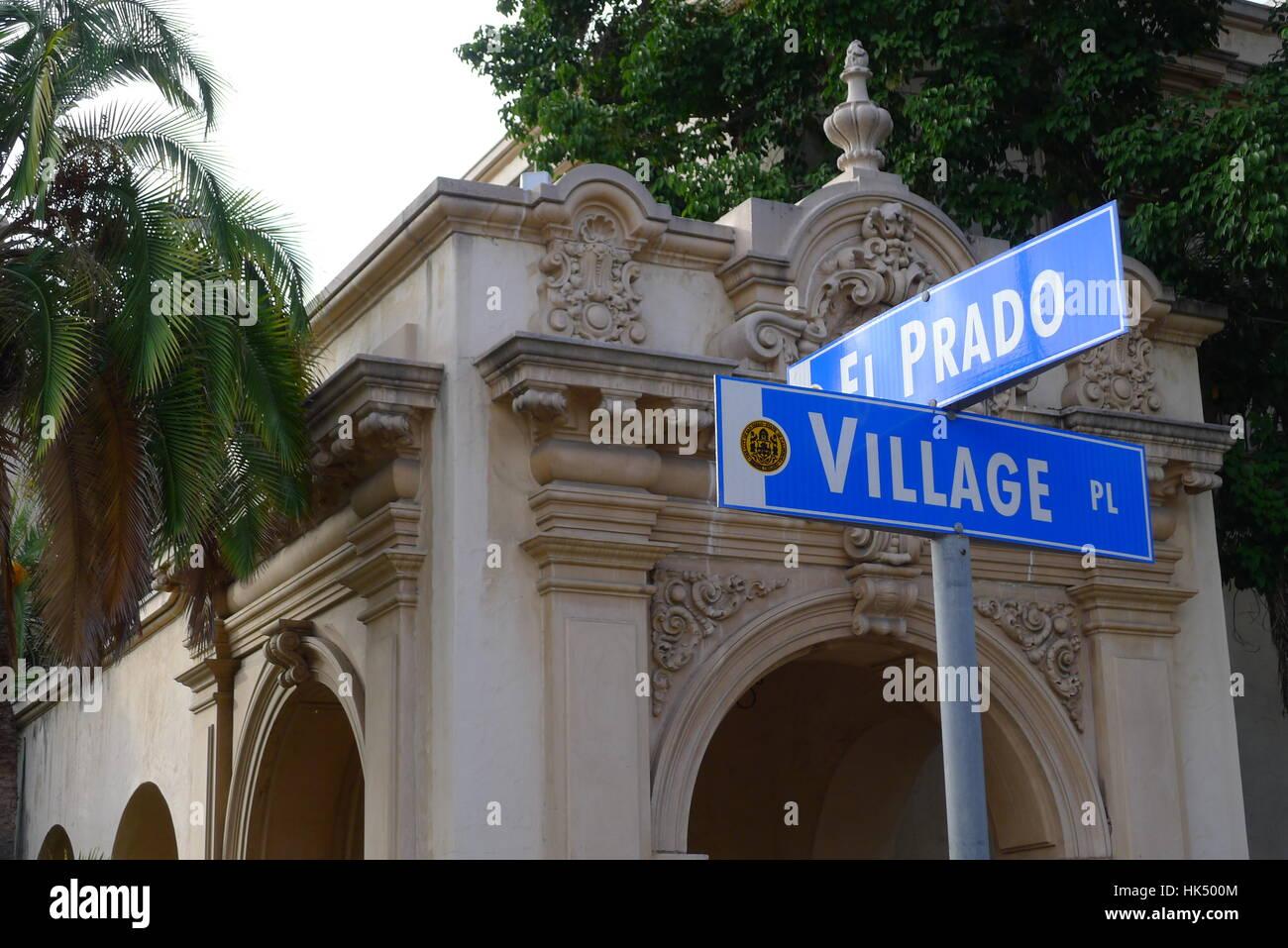 Corner of El Prado and Village Pl in San Diego - Stock Image