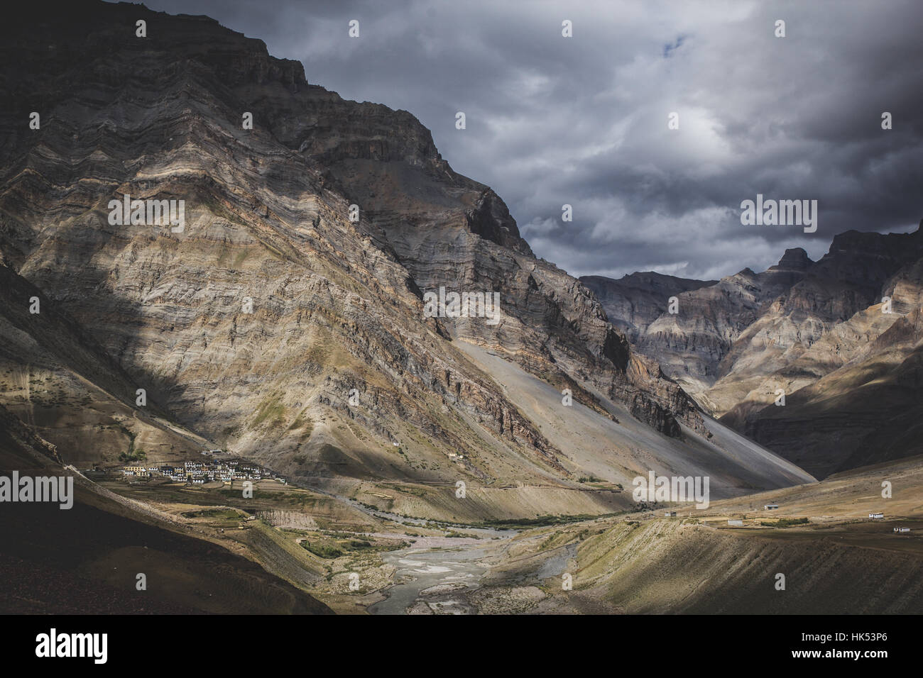 A particularly gloomy day in Spiti Valley, Himachal Pradesh - Stock Image