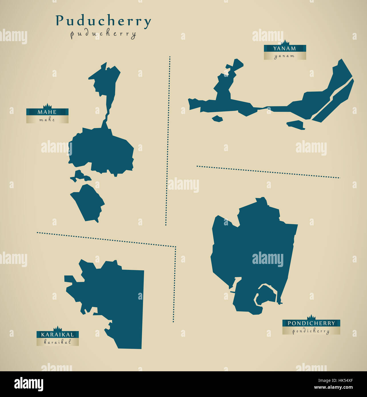 Modern Map - Puducherry IN India federal state illustration silhouette - Stock Image