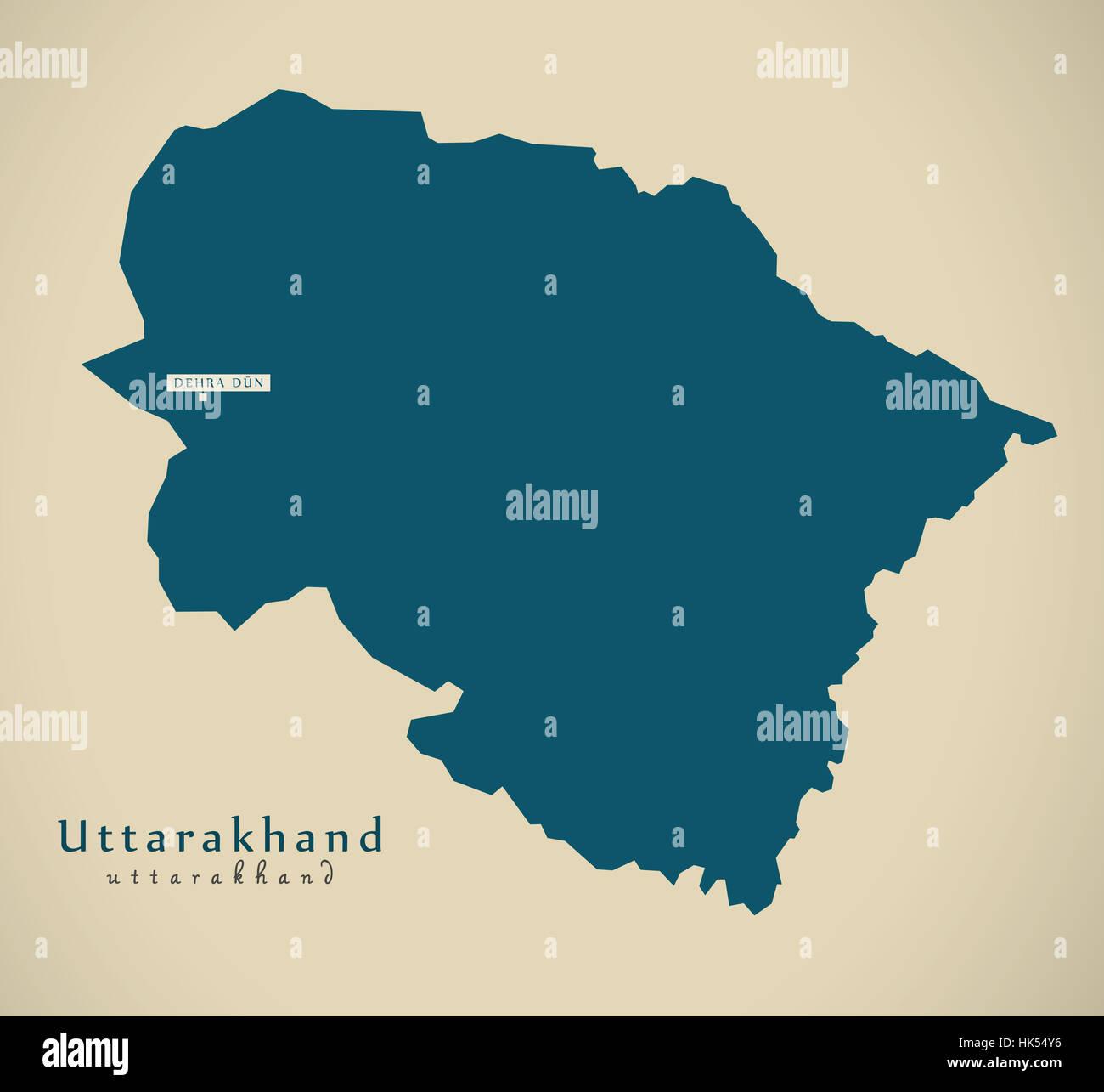 Map Of Uttarakhand Stock Photos & Map Of Uttarakhand Stock Images ...