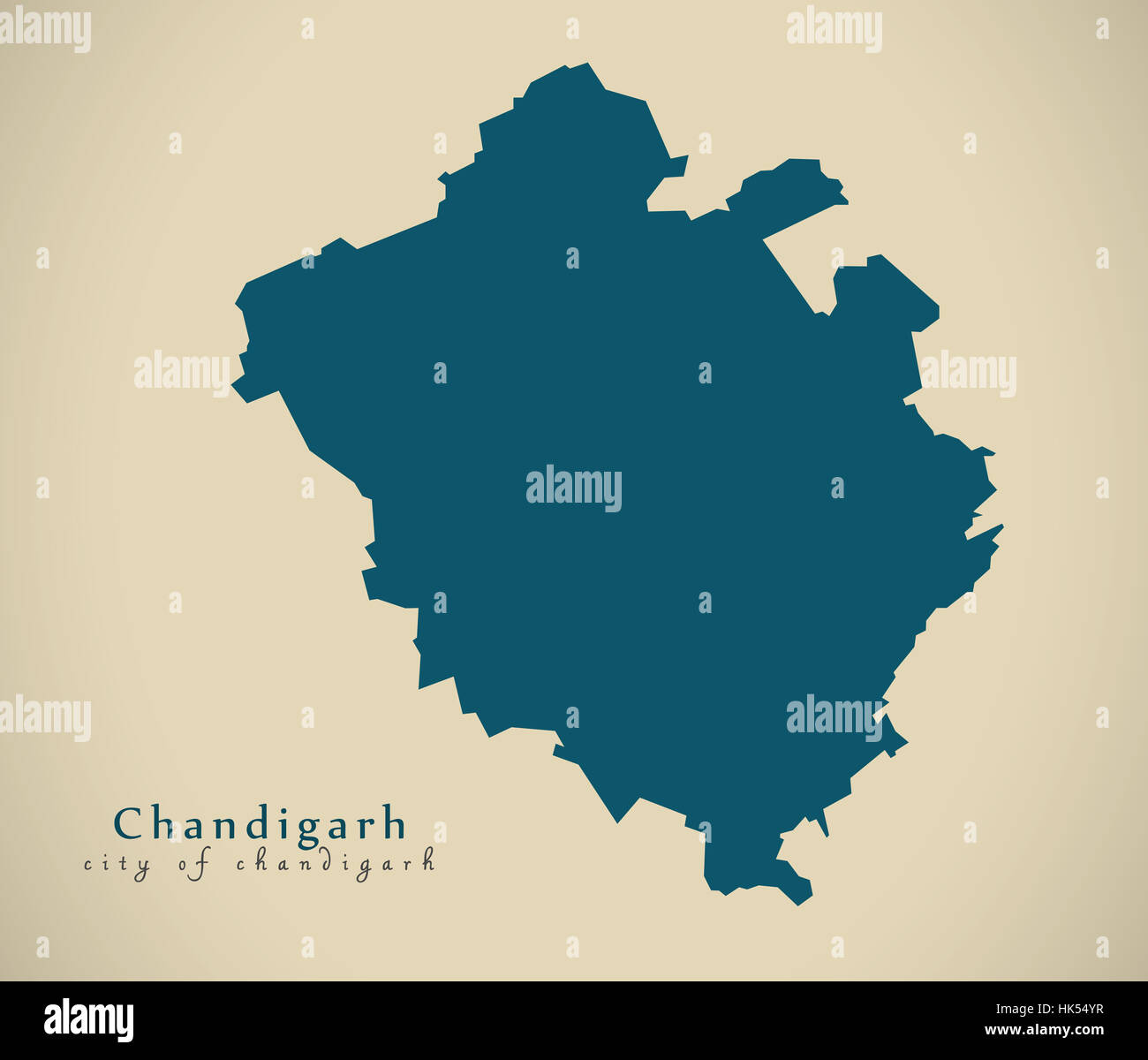 Modern Map - Chandigarh IN India federal state illustration silhouette - Stock Image