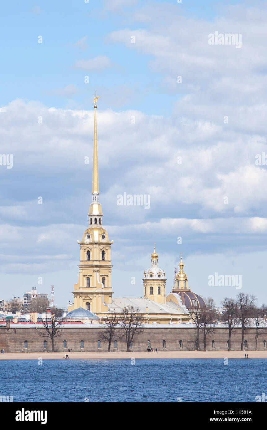 hisorical cathedral peterpau fortress in city Sankt-Peterburg - Stock Image