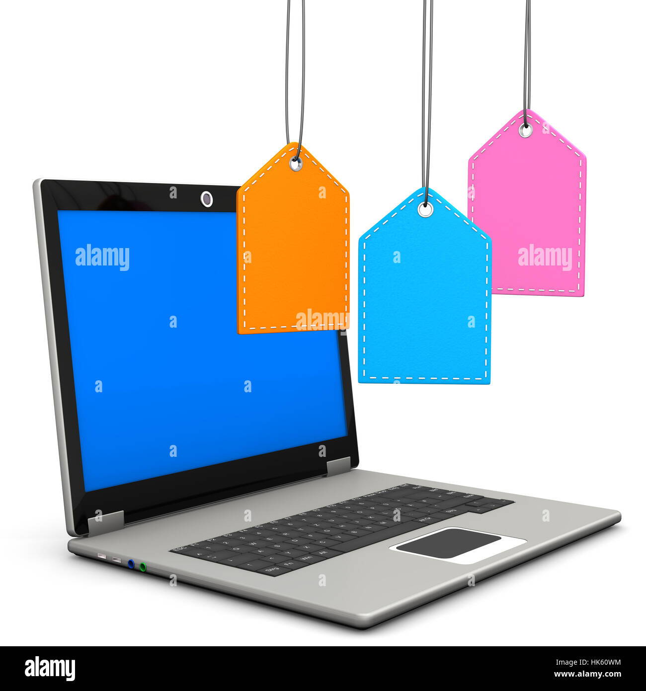 blue, laptop, notebook, computers, computer, PC, fashion, colour, illustration, - Stock Image