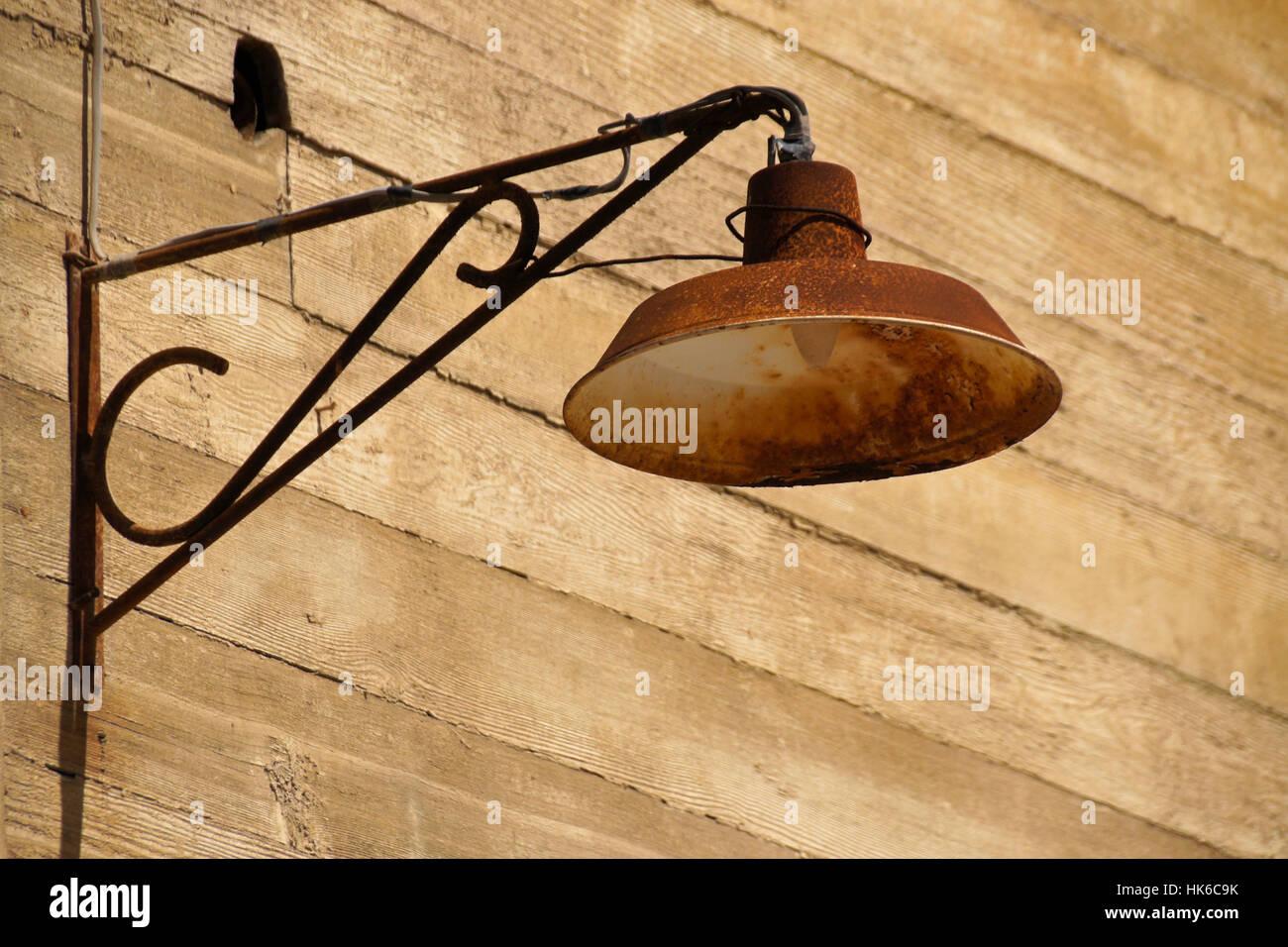 Rusty light fixture, Santiago Humberstone Oficina Salitrera, Atacama Desert, Norte Grande, Chile - Stock Image