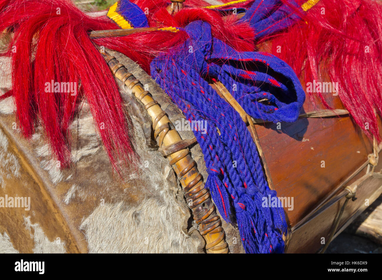 Many of the decorations and customs at Hornbill-Festival in Kohima seem to be similar to the northamerican Indians Stock Photo