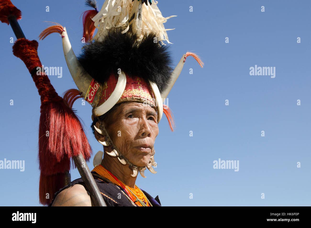 Konyak-Warriors fully decorated at Hornbill-Festival Stock Photo