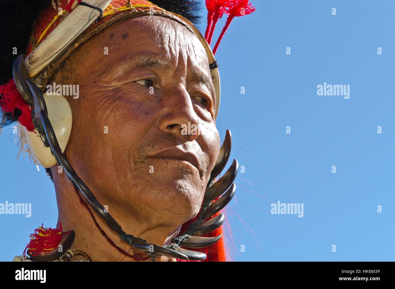 Khamnungma-Warrior fully decorated at Hornbill-Festival Stock Photo