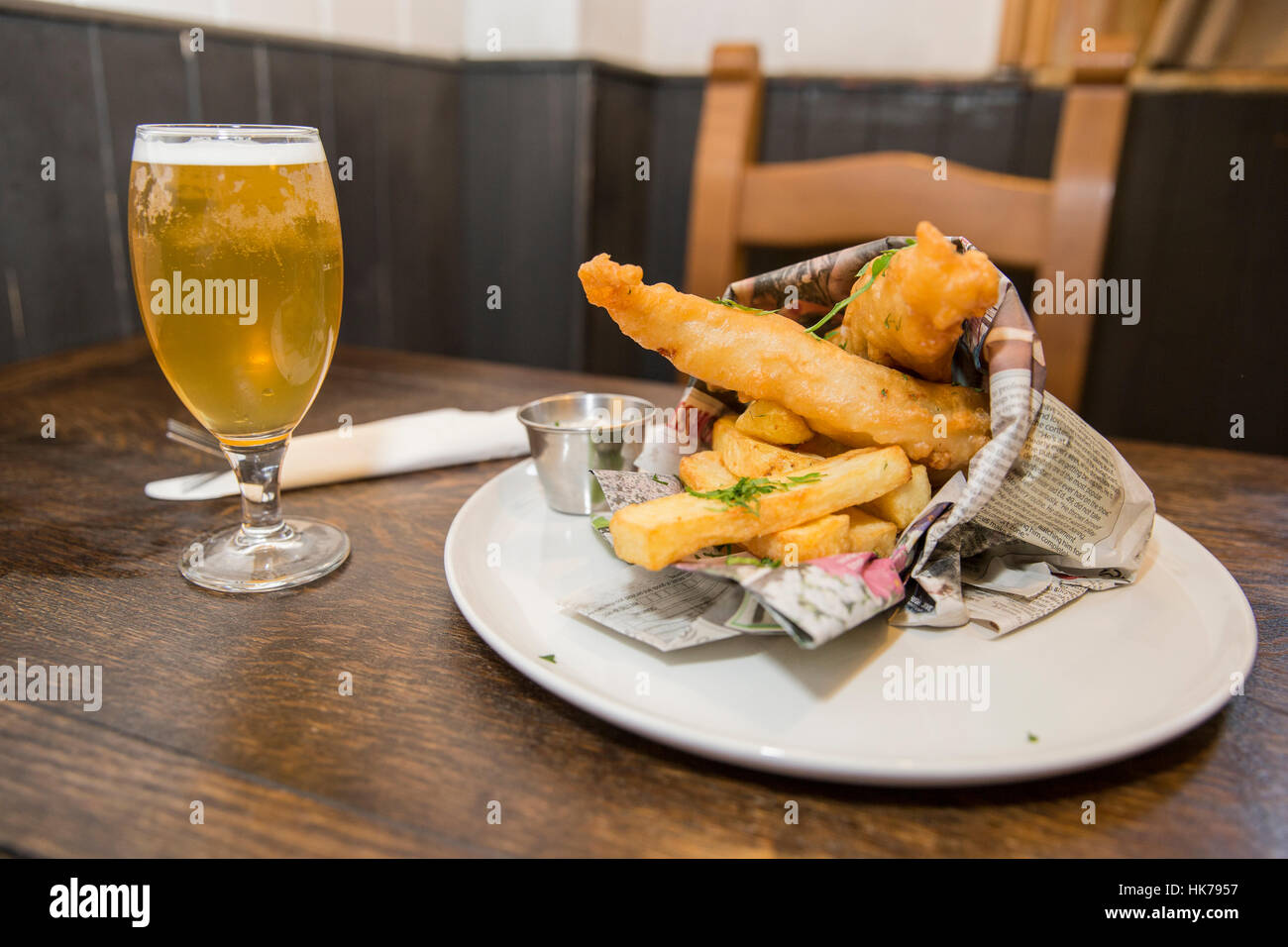 A traditional pub fish and chips. - Stock Image
