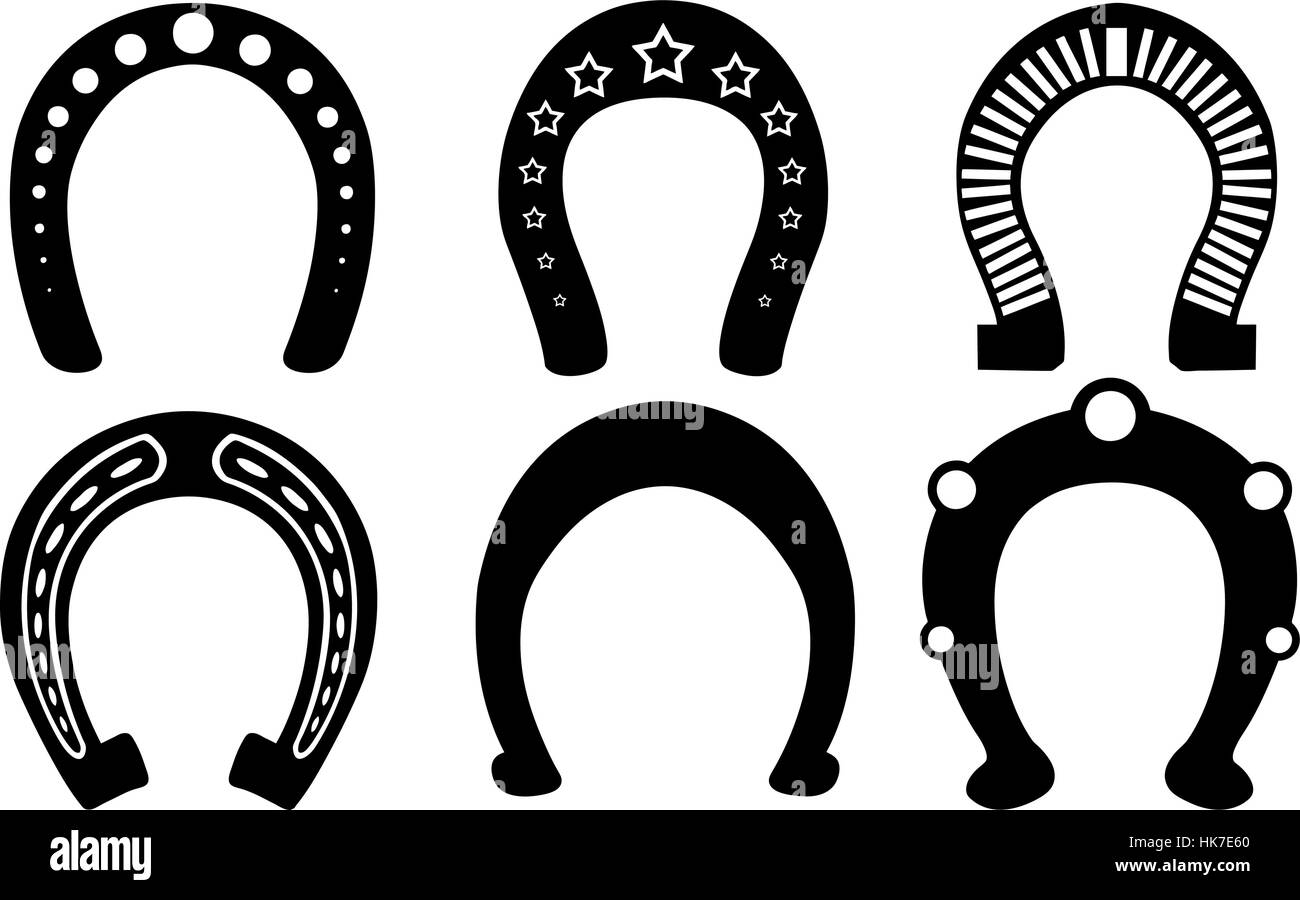 set of horseshoes isolated - Stock Image