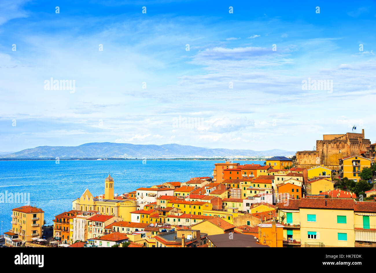 Porto Santo Stefano village, church and castle aerial view, italian travel destination. Monte Argentario, Tuscany, - Stock Image