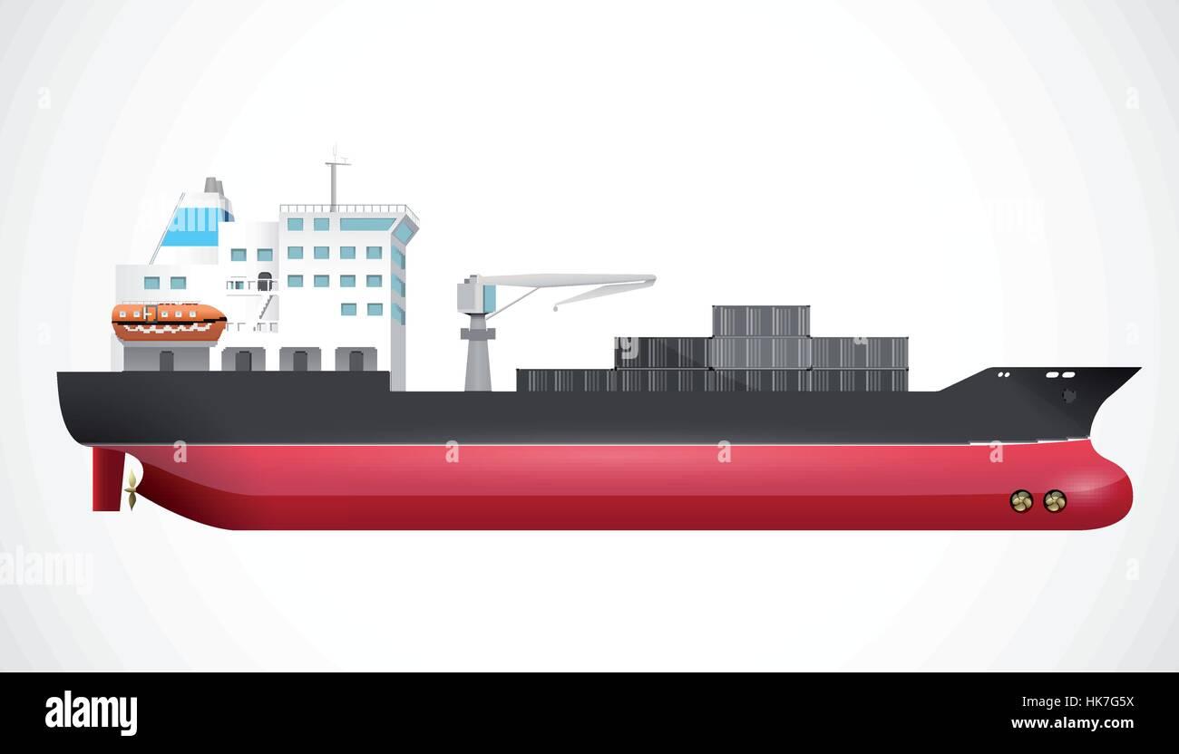 Transport ship - ocean trade - business concept - Stock Vector