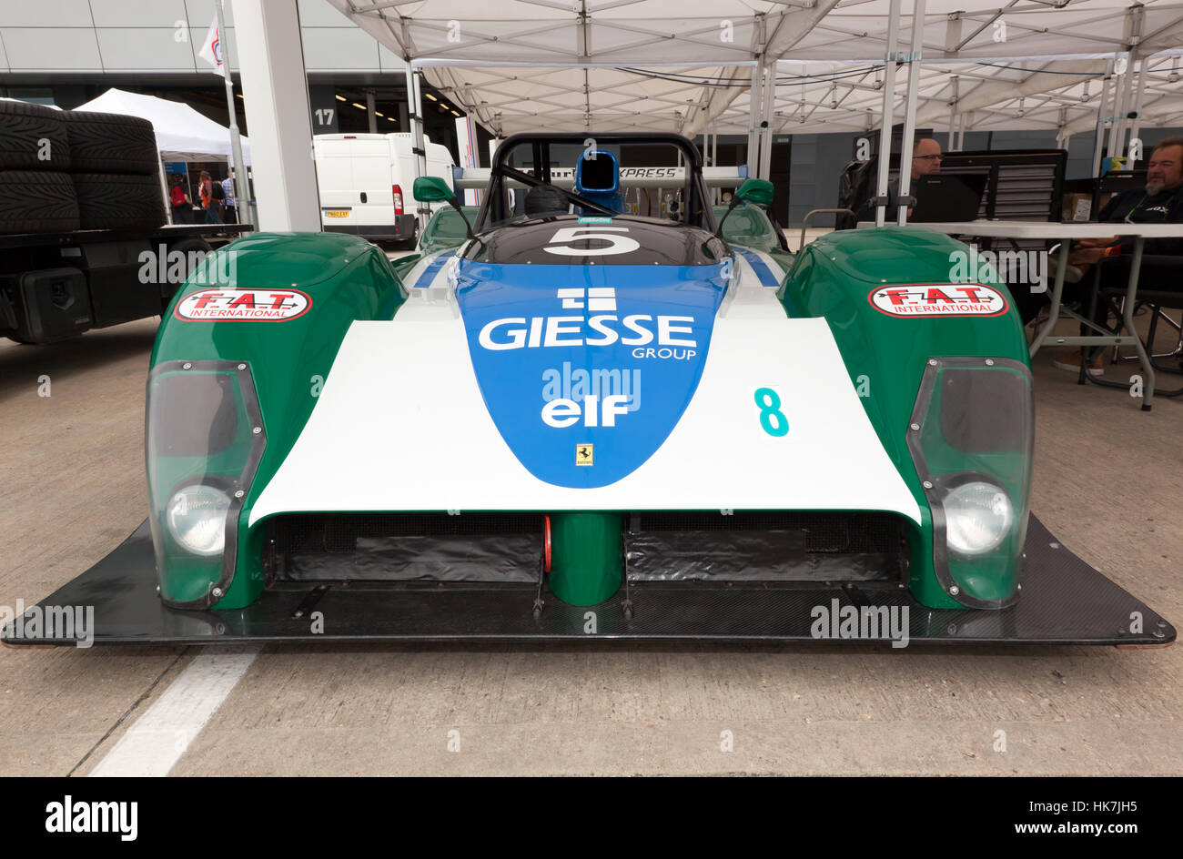 Front view of a  Ferrari 333 SP, part of the 90's Endurance legends display at the 2016 Silverstone Classic - Stock Image