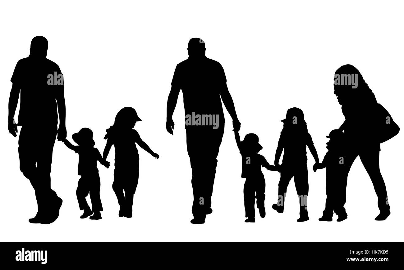 Illustration of family holding hands - Stock Image