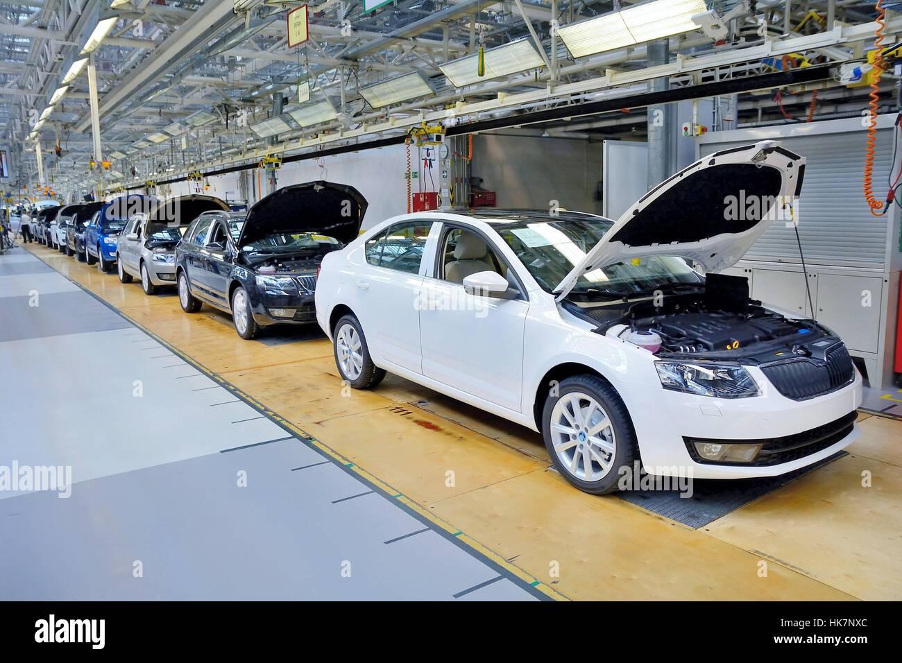 Skoda Auto car factory in Mlada Boleslav. - Stock Image