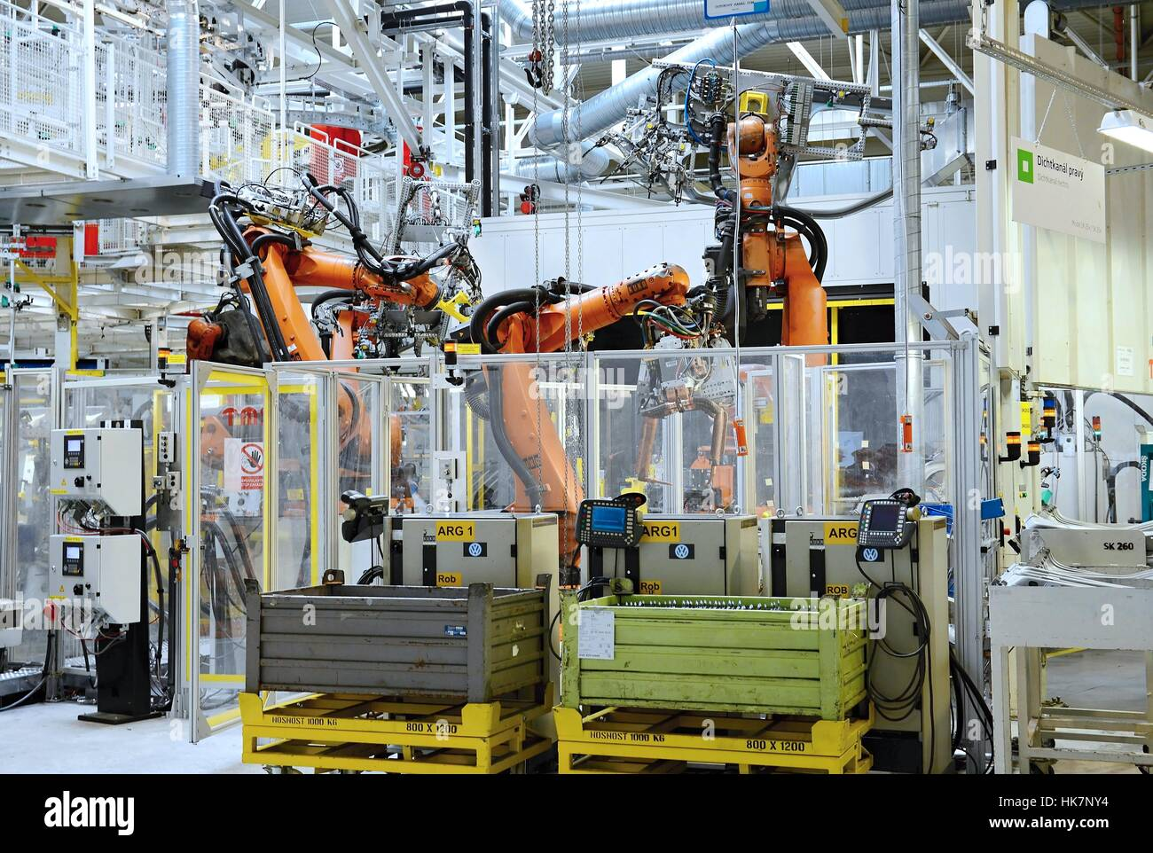 Automatic robot in car factory - Stock Image