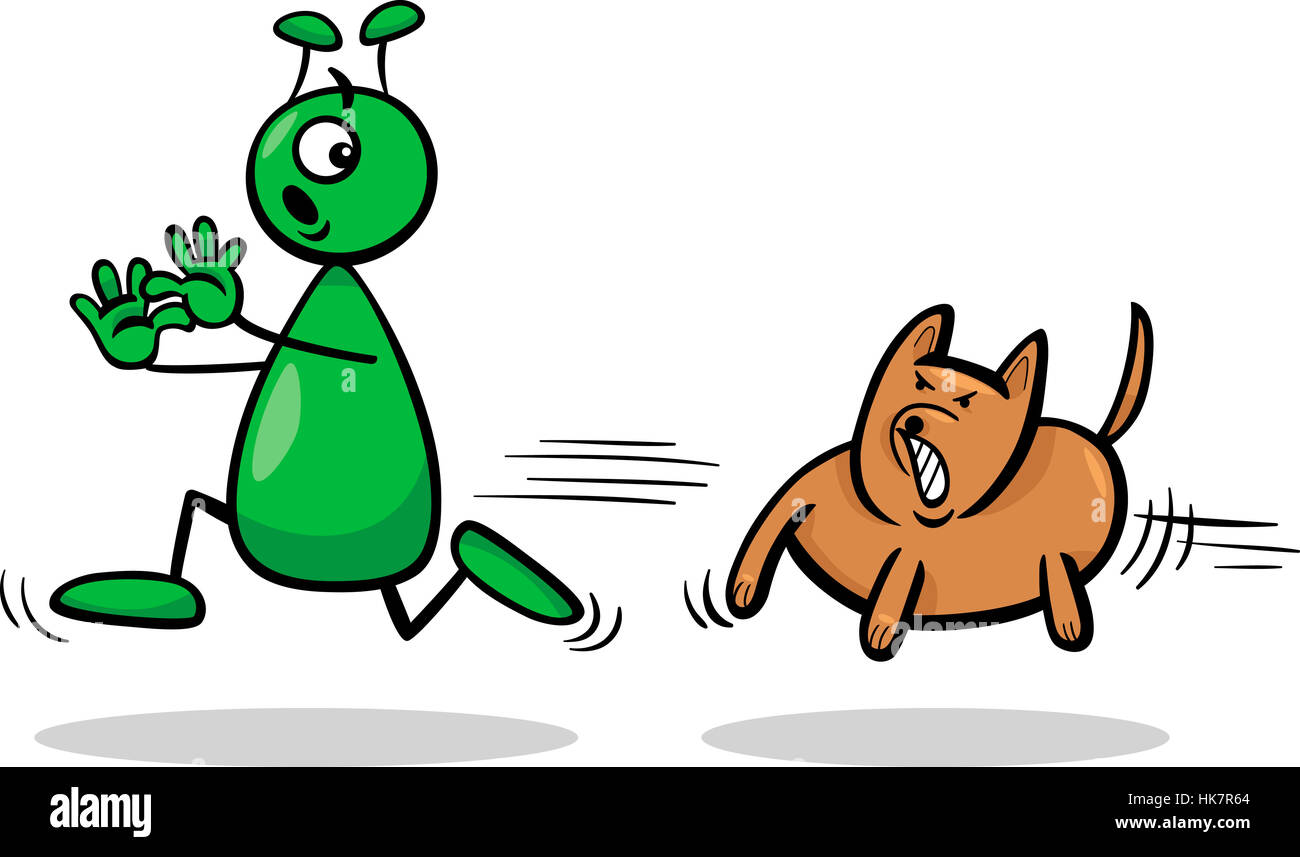 Cartoon Illustration of Funny Alien or Martian Comic Character Running Away form Dog - Stock Image