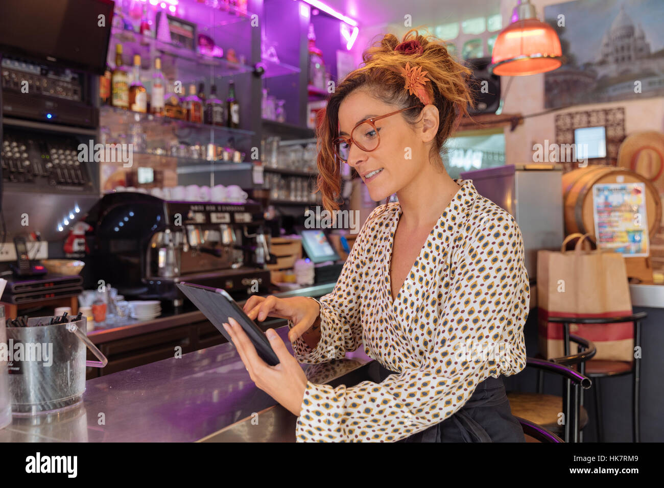 Entrepreneur and owner of a cafe in Paris - Stock Image