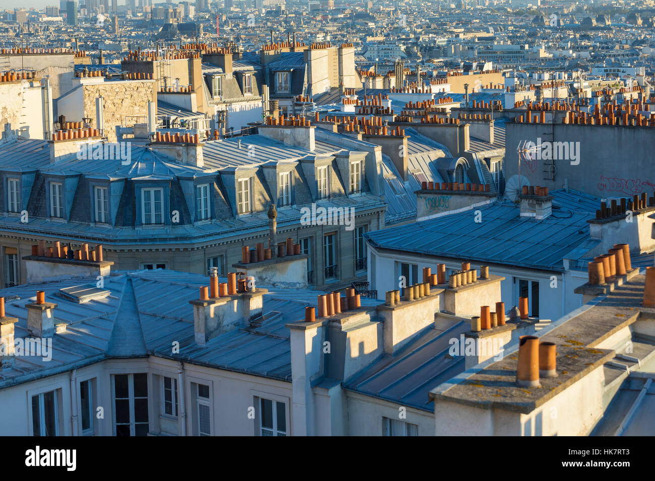 View of Paris from Montmartre rooftop Stock Photo