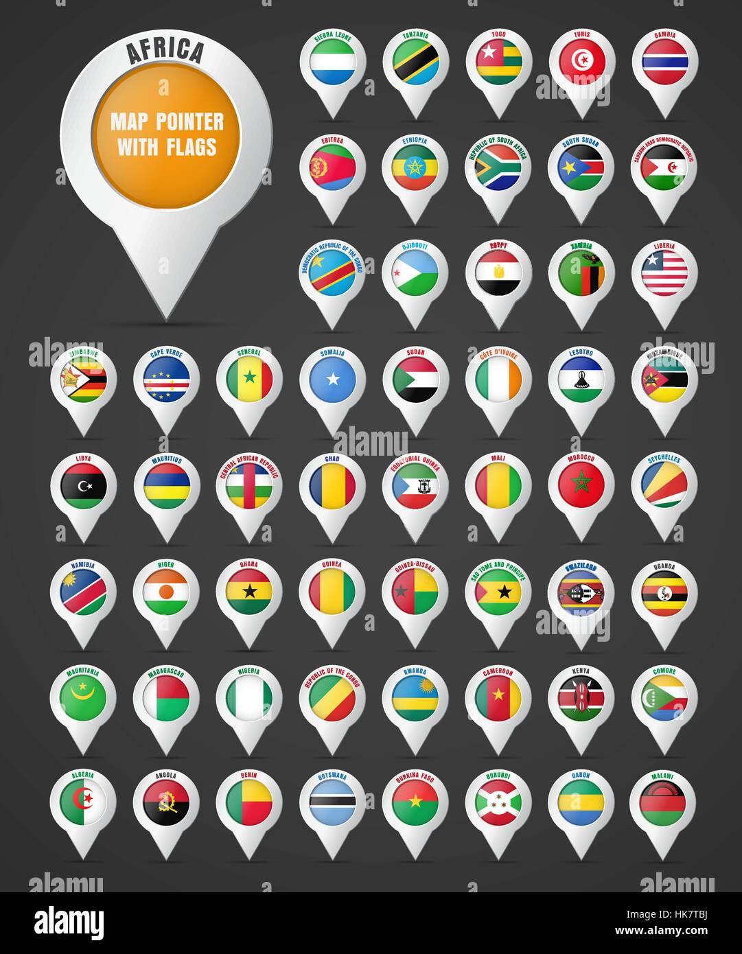 Set the pointer to the map with the flag of the countries of Africa and their names. Vector illustration Stock Vector